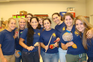 """Beta club members volunteered during """"Dine and Drum"""", a spaghetti dinner held at Bellamy Elementary on October 17th."""