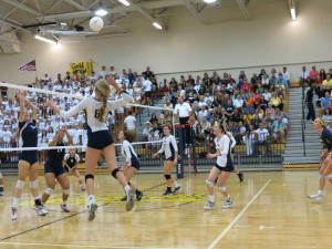 Rachel Mathison goes for the kill in the regional finals. Mathison was second on the team in kills in Kissimmee.