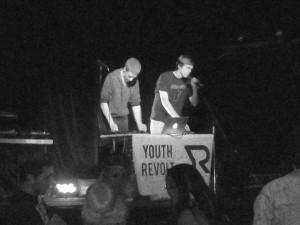 Geier (right) and Horvath (left) open for a tribute for Daft Punk as their group, Youth Revolt.