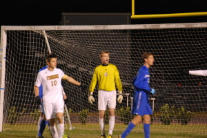 Steinbrenner goalkeeper Christian Knight analyzes a play. He came up with a few key saves in the second  half to keep the game tied.