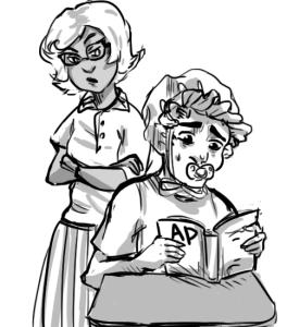baby and teacher