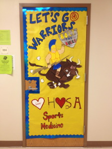 Career and Technology instructor Jasmin Wantuch secured second place for her door.