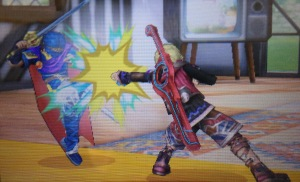 Shulk lands a hit on his opponent, Marth!