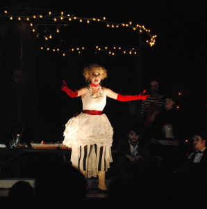 "Caroline Meisner (Polly Peachum) performs ""Pirate Jenny"" one of many songs she sang during the show."
