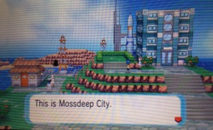 Mossdeep City is shown to the player for the first time.