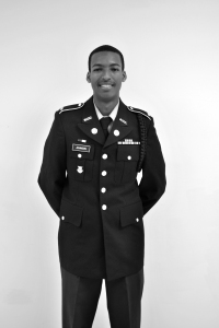 Senior Brandon Johnson dressed in his ROTC uniform. Students in the program are expected to done their uniforms each Thursday.