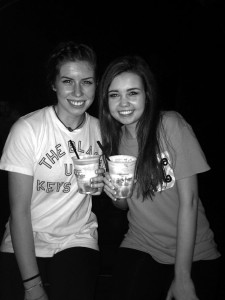 Seniors Ryann Martin and Marissa Hibel share a few Butter Beers in Universal's Harry Potter World. The girls later went on to enjoy the ride.